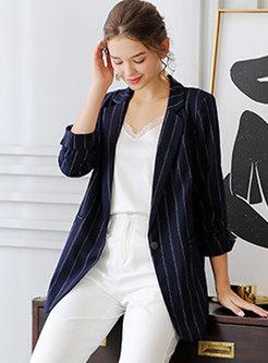 3/4 Sleeve Striped Office Blazer