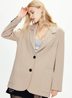 Solid Color Long Sleeve Straight Blazer
