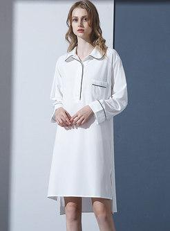 White Pullover Shift Knee-length Nightdress