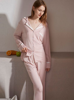 Color-blocked Lapel Long Sleep Pajama Set