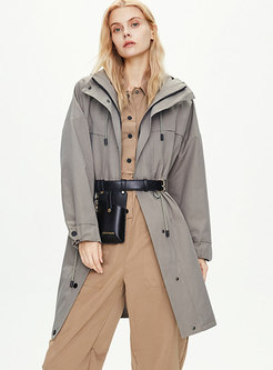 Hooded Drawstring Knee-length Trench Coat