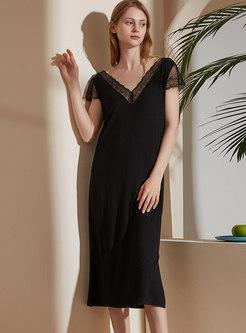 Black Lace V-neck Modal Midi Nightdress