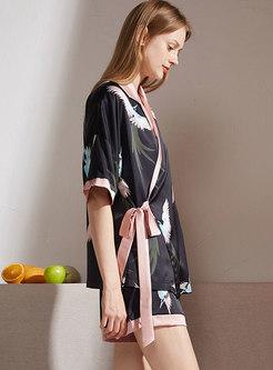 Color-blocked Print Sleep Shirt & Pajama Shorts