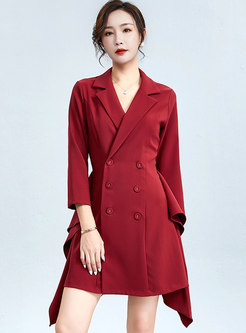 Notched Office A Line Mini Blazer Dress