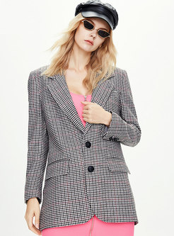 Plaid Long Sleeve Slim Office Blazer
