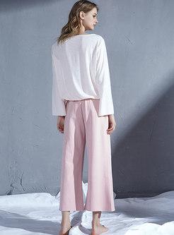 V-neck Pullover Loose Wide Leg Pajama Set