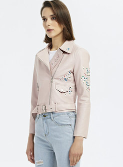 Pink Embroidered PU Biker Jacket