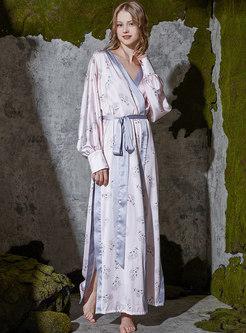 Color-blocked Print Slit Long Robe
