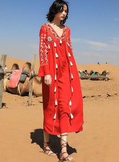 V-neck Embroidered Long Sleeve Beach Dress