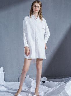 White Plus Size Lapel Shirt Nightdress