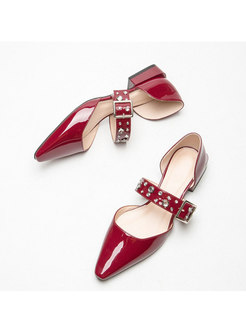 Pointed Rhinestone Low-fronted Buckle Shoes