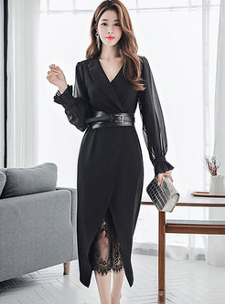 Notched Long Sleeve Belted Lace Two Piece Dress