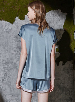 V-neck Single-breasted Loose Short Pajama Set
