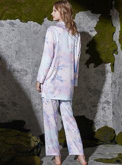 Dye Tie Print Sweet Long Sleeve Pajama Set