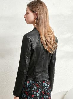 Mock Neck Slim Side Zipper PU Biker Jacket