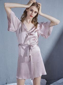 V-neck Half Sleeve Mini Nightdress