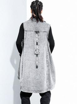 Plus Size Asymmetric Denim Straight Vest