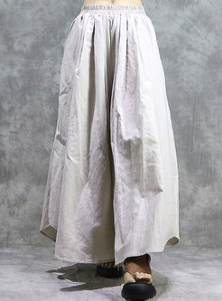 Elastic Waist Linen Wide Leg Pants
