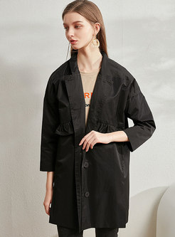 Lapel Ruffle Patchwork Straight Trench Coat