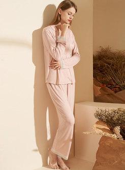 Long Sleeve Lace Patchwork Pajama Set