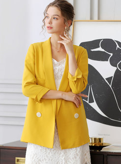 Brief Notched Double-breasted Straight Blazer