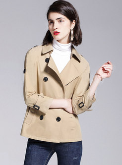 Notched Double-breasted Short Trench Coat