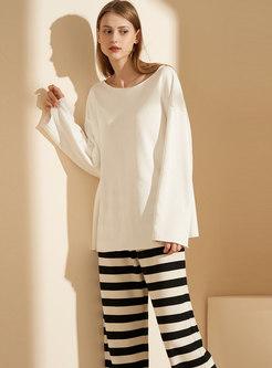 Crew Neck Pullover Striped Pajama Set