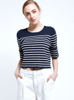 Half Sleeve Striped Cropped Knit Tops