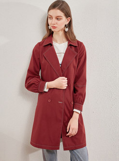 Notched Long Sleeve Drawstring Trench Coat