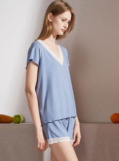 Color-blocked V-neck Short Sleep Pajama Set