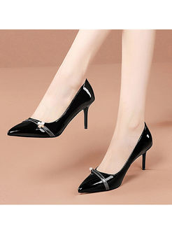 Pointed Toe Low-fronted High Heel Shoes