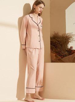 Lapel High Waisted Wide Leg Pajama Set