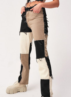 Color-blocked Patchwork Straight Pants