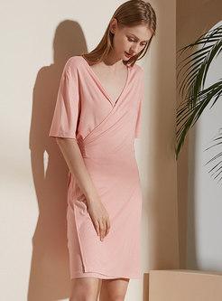 Solid Color V-neck Half Sleeve Nightdress