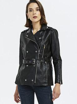 Black Side Zipper Biker Leather Jacket