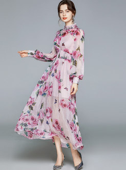Mock Neck Sequin Print Chiffon Maxi Dress
