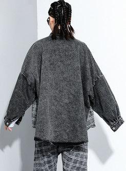 Plaid Patchwork Bat Sleeve Denim Jacket