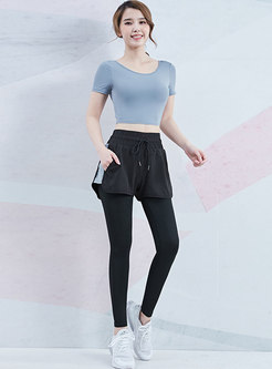 Crew Neck Backless Tight Yoga Tracksuit