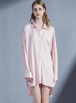 Pink Lapel Single-breasted Sleep Shirt Dress