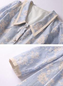 Print Long Sleeve A Line Knee-length Dress