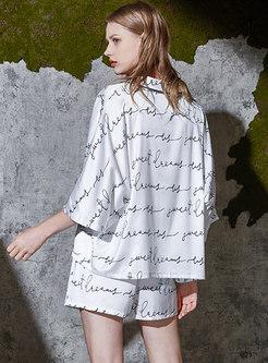 White Letter Print Satin Loose Pajama Set