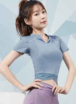 Short Sleeve Tight Cropped Sports Top