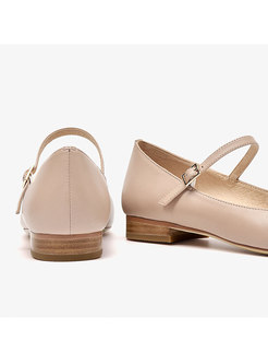 Pure Color Pointed Toe Buckle Flats