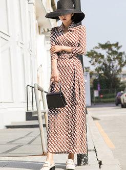 V-neck 3/4 Sleeve Print A Line Wrap Dress