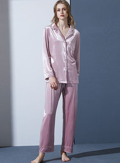 Velvet Brief Lapel Sleep Shirt & Wide Leg Pants