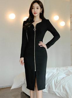Black Square Neck Long Sleeve Sheath Dress