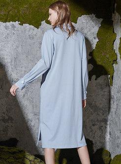 Long Sleeve Loose Slit Shift Nightdress