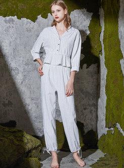 Lapel Ruffle Plaid Casual Pajama Set