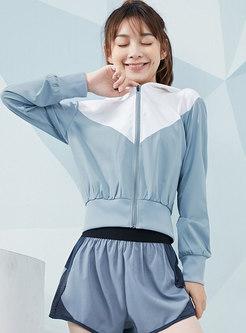 Hooded Color-blocked Short Sports Jacket