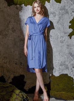 V-neck Solid Color Knee-length Wrap Robe